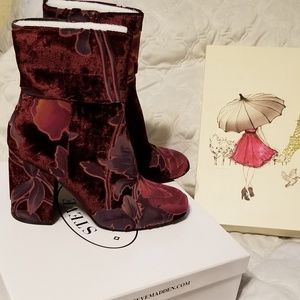 Goldie Burgundy Multimedia Chunky Heel Ankle Boots
